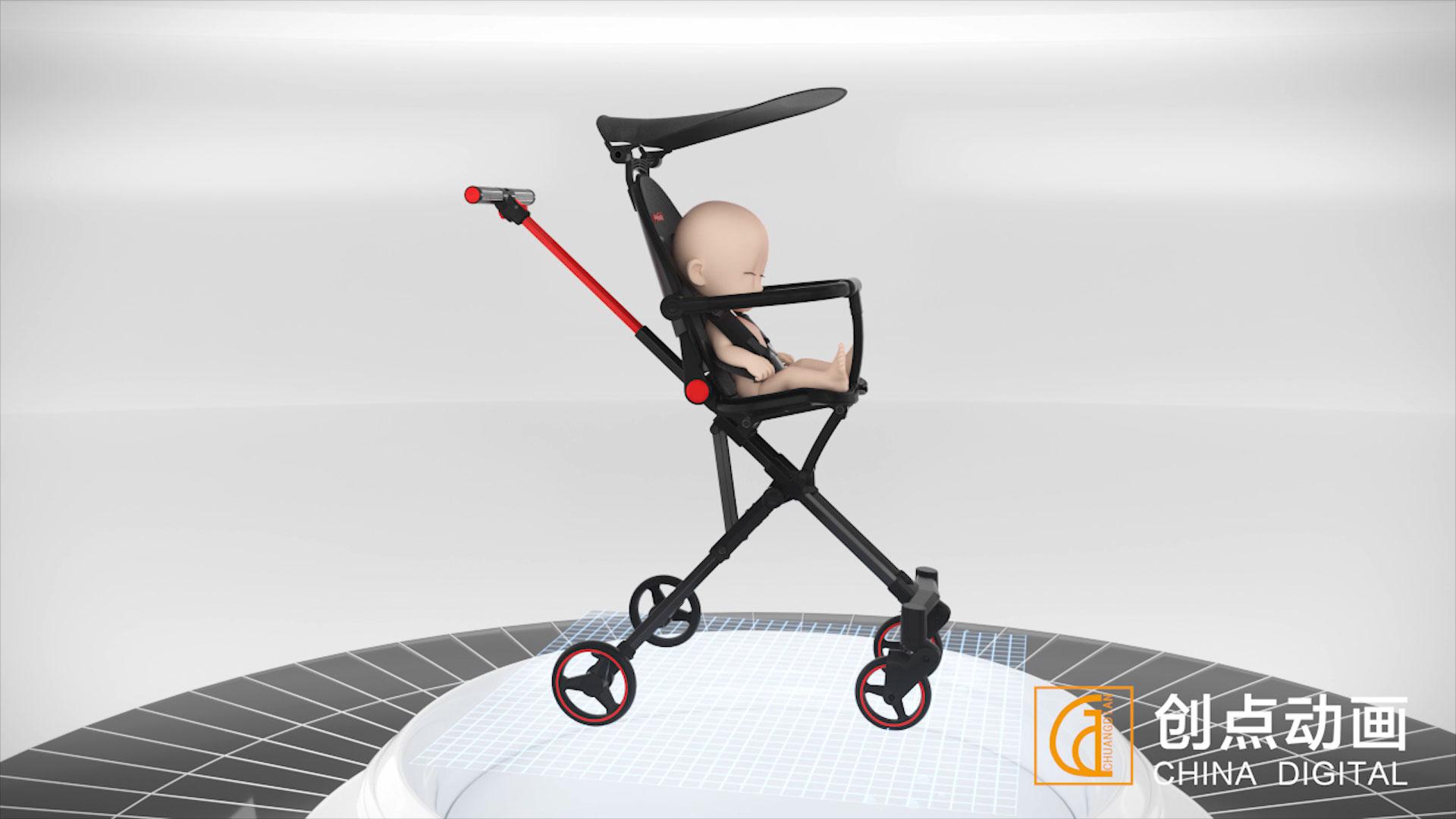 小型婴儿车三维动画视频