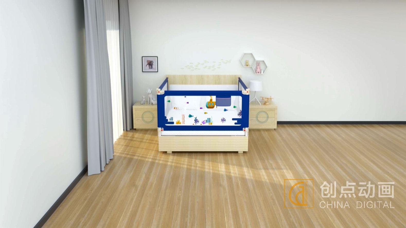 婴儿床护栏三维动画